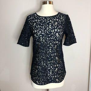 LOFT Navy Blue Lace Top Sz XS